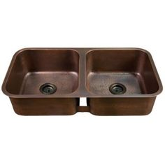 """35"""" Hammered Double Well Undermount Copper Sink -Copper Antique Finish)"""