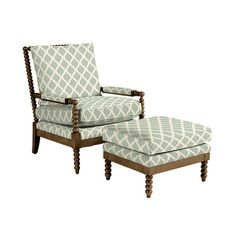 Shiloh Spool Chair and Ottoman - vintage ticking stripe navy, latte finish Swivel Recliner Chairs, Sofa, Chair And Ottoman, Arm Chairs, Accent Chairs, Spindle Chair, Spool Chair, Living Room Redo, Living Room Chairs