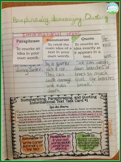 Teaching With a Mountain View: Summarizing, Paraphrasing, and Quoting Texts - Creating Comics w/ historical nonfiction summarizing paragraph cards - guided reading 6th Grade Reading, 4th Grade Writing, Middle School Reading, Teaching Writing, Teaching Ideas, Fourth Grade, Teaching Tools, Third Grade, Grade 3