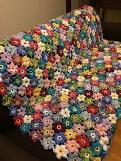 Crocheted colorful flower afghan – blanket – throw – made to order – Granny Square Crochet Afghans, Crochet Motif, Crochet Stitches, Knit Crochet, Form Crochet, Crochet Cushions, Manta Crochet, Crochet Puff Flower, Crochet Flower Patterns