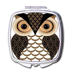 Cute Cartoon Owl Pocket Compact Mirror Portable Beauty Accessories ** You can get more details by clicking on the image.