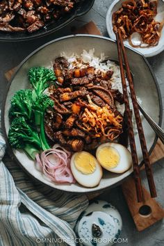 Take your taste buds to Taiwan with the classic one-bowl Lu Rou Fan: a dish of tender-braised pork belly with a rich and savory gravy, eggs, and veggies over steamed rice. Easy Healthy Recipes, Asian Recipes, Ethnic Recipes, Asian Foods, Lamb Recipes, Chinese Recipes, Pickled Mustard Greens, Braised Pork Belly