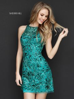 Emerald Green Beaded 2017 Sherri Hill Homecoming Gown. Available at Bridal and Formal's Club Dress Cincinnati OH @bfclubdress (513)821-6622