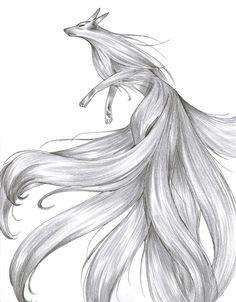 Pencil drawing of a kitsune.