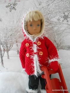 HAND KNITTED WINTER JACKET  & MITTENS FOR SASHA DOLL