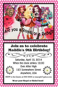 Ever After High Birthday Party Invitation with Free by Design13
