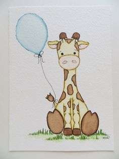 Giraffe and Balloon Watercolor painting nursery door Waterblooms