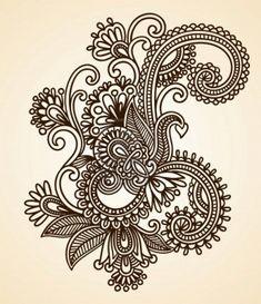Dibujado a mano Mendie Resumen Flores Henna Doodle Ilustración Vectorial Diseño de Elementos Foto de archivo
