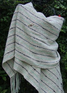 Ivory Linen Handwoven Wrap with blue and green stripes - Scarves, Wraps & Accessories - The Crafty Cailín