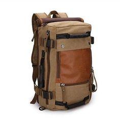 Men's Khaki Vintage Canvas Shoulders Outdoor Travel Camping Hiking Bag Rucksack