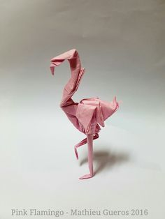 PINK FLAMINGO by Mathieu Gueros Origami