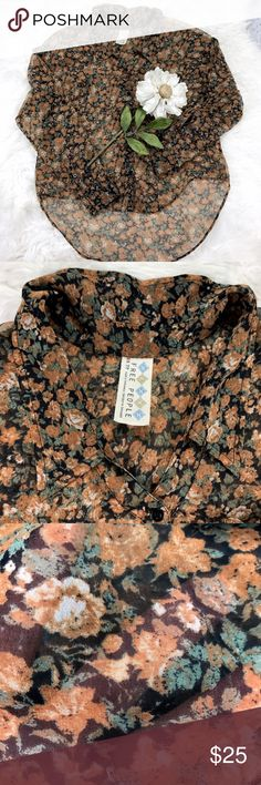 """💕SALE💕Free People Floral Sheer Hi Low Top Gorgeous Free People Floral Sheer Hi Low Top 24"""" from the top of the shoulder to the bottom in the front and 28"""" from the top of the shoulder to the bottom in the back 20"""" Sleeve Length and 20"""" from armpit to armpit Free People Tops Blouses"""