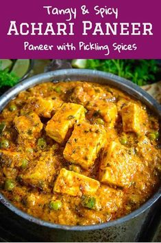 Achari Paneer is an Indian cottage cheese curry made using pickling spices. Achari Paneer is an Indian cottage cheese curry made using pickling spices. Slightly tangy and full of flavors, this curry goes perfect with Indian breads. Indian Veg Recipes, Paneer Recipes, Curry Recipes, Veggie Recipes, Cooking Recipes, Achari Paneer, Pickling Spices, Mushroom Curry, Cottage Cheese Recipes