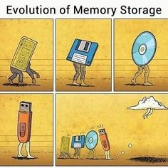 Reposting @afrodeprochica: Tell me this ISN'T an accurate depiction of how #technology has evolved over the years. Can anyone comment below & tell me what the first picture is? I was clearly NOT alive when that came into being #goodmorning #instapic #instacool #instagood #humor #funny #laughoutloud #love #smile #happy #blue #photooftheday #awesome #mentalhealth #blessed #positive #life #memorystorage #cdrom #flashdrive #floppydisk #thecloud #throwbackthursday