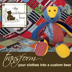 If you can't bear to part with your baby's adorable onesies, or your toddler's precious Easter outfits, don't despair! Recycle your tot's discarded duds into a one of a kind keepsake with The Patchwork Bear.
