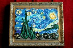 "Great presentation of this Van Gogh"" Starry Night"" cake."