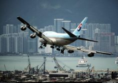 Korean Air on final approach to Kai Tak Int'l Apo (HKG) Hong Kong. A380 Aircraft, Boeing 747, Commercial Plane, Commercial Aircraft, Bomber Plane, Jet Plane, Kai Tak Airport, Korean Air, Jumbo Jet