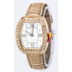 Women's Beige Iconic Crystal Case Fashion Watch