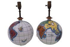 Italian Ceramic Globe Lamps, Pair on OneKingsLane.com Interesting light fixtures!