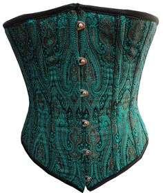 "Copper And Petrol Brocade Fabric Steel Boning Underbust Fashion Corset Waist Cincher - Miracle Corsets. (Body Waist - 32""). Copper And Petrol Brocade Fabric. 14 spiral steel bones for a comfortable fit. 4 powder coated flat steel bones on Back side. Metal Steel Busk. 100% Cotton Twill."