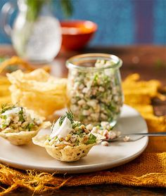 Parmesan cups with smoked chicken salad (chicken, shallot, dill, pine nuts)