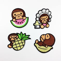 New to craftapplique on Etsy: cute Monkey eat  watermelon  Pineapple patch embroidered patch iron on patch sew on patch (A171) (1.90 USD)