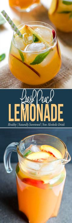Peach Lemonade - perfect lemonade recipe to enjoy fresh peaches.