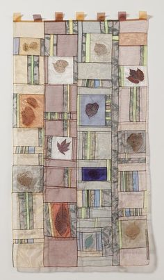 Bojagi: Leaves Suspended, x by Ruth Marchese. Manhattan Quilters Guild OK, the leaves are totally cool. But real leaves will break down over time.really good silk leave, ironed flat? Patchwork Curtains, Fiber Art Quilts, Cute Curtains, Stitch Witchery, Traditional Fabric, Strip Quilts, Korean Art, Window Art, Office Art
