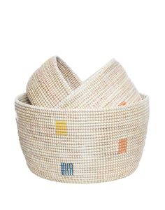 Stacked Knitting Baskets - Rainbow Dot – The Little Market