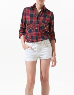 STUDDED CHECKED SHIRT - Shirts - Woman - New collection - ZARA United Kingdom  My latest purchase from Paris