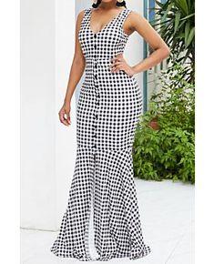 Polka dot lattice printing sleeveless deep v maxi evening dress Cheap Dresses, Sexy Dresses, Evening Dresses, Fashion Dresses, Vintage Dresses, Button Up Maxi Dress, Clubwear Dresses, Plus Size Dresses, Polka Dot