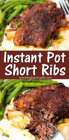 These Instant Pot Short Ribs are super tender and packed with tons of wonderful flavor! This recipe is my new version of my super popular Slow Cooker Short Rib recipe that I've adapted to work with the Instant Pot electric pressure cooker! Slow Cooker Short Ribs, Cooking Short Ribs, Bbq Short Ribs, Instant Pot Short Ribs Recipe, Instant Pot Dinner Recipes, Recipe For Short Ribs, Pork Short Ribs Recipe Oven, Multi Cooker Recipes, Instant Pot Pressure Cooker