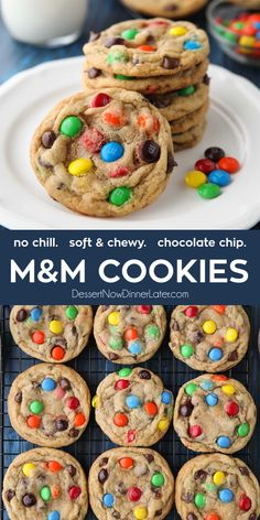These bakery style M&M Cookies are loaded with chocolate chips and M&M candies. They're crispy on the edges, soft and chewy in the center, with plenty of chocolate throughout. The best M&M cookies! No chill time required — just make and bake. M M Cookies, Cookies For Kids, Yummy Cookies, Cookies Et Biscuits, Shortbread Cookies, Cool Cookies, Jelly Cookies, Making Cookies, Candy Cookies