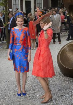 Queen Maxima of The Netherlands and Queen Mathilde of Belgium opened the exhibition of the Flemish Vormidable Contemporary Flemish Sculpture on May 20, 2015 in The Hague, Netherlands.