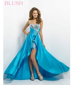 Strapless A Line High Low Blue Prom Dress Cheap | Prom Dresses ...