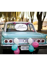"""Proclaim your """"Just Married"""" status in style with this black and white car sign. The water-resistant sign has a black border and includes pre-punched holes for tying with ribbon and attaching to your car. Features and Facts:  Size: 24"""" x 18""""  Foam core  Water-resistant  Ribbon not included"""