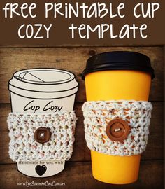 Free printable cup cozy template!                                                                                                                                                                                 More