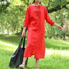 Literature Round Neck Long Sleeves Linen Red Women Dress Two Way Wear