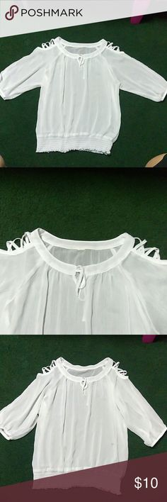 Sheered white blouse Size large.  White.  See through. Tops Blouses