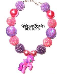 SKYWISHES My little pony necklace chunky by LolaandDarlaDesigns, $19.00