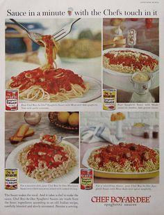 1960 Chef Boyardee Spaghetti Sauce |  #RetroReveries Chef Boyardee Spaghetti Sauce Recipe, Retro Recipes, Vintage Recipes, 1960s Food, Retro Food, Mushroom Spaghetti Sauce, Lemon Jello, Candy Drinks, How To Cook Shrimp