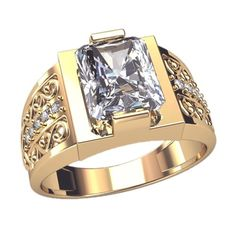 Mens ring - white diamond