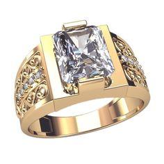 Mens ring - white diamond