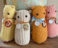 Crafts From Old Sweaters | ... here are some really cute soft toy showpieces made from old sweaters