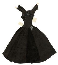 Robe noire pour Paper Doll imaginée par Yves Saint Laurent http://www.vogue.fr/culture/a-voir/diaporama/les-archives-d-yves-saint-laurent-devoilees-en-ligne/13869/image/771641#!robe-noire-pour-paper-doll-imaginee-par-yves-saint-laurent