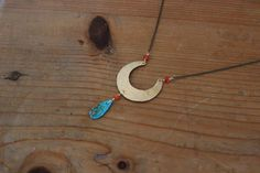 Crescent Moon Necklace / Turquoise Black Carnelian raw crystal jewelry