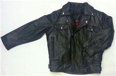 Premium kids leather motorcycle jacket