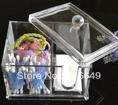 Envío gratis de cristal 1pc maquillaje organizador de cosméticos caso de almacenamiento de contenedores caja/organizador de cuarto de baño/organizador de la joyería caja de caso