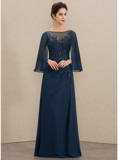 A-Line Scoop Neck Floor-Length Sequins Zipper Up Sleeves Long Sleeves No Dark Navy General Plus Chiffon Lace Mother of the Bride Dress Simple Dresses, Elegant Dresses, Beautiful Dresses, Mother Of The Bride Dresses Long, Mothers Dresses, Bridal Dresses, Bridesmaid Dresses, Prom Dresses, Hijab Style Dress