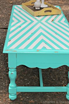 Tattered and Inked: Geometric Coffee Table Makeover with 3M